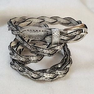 Silver Skinny Braided Belt sz M #1295